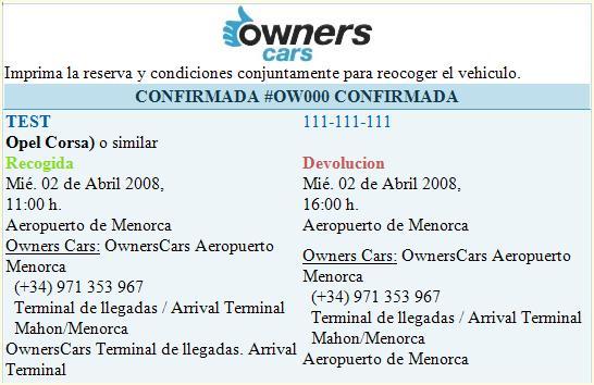 reserva ownerscars menorca